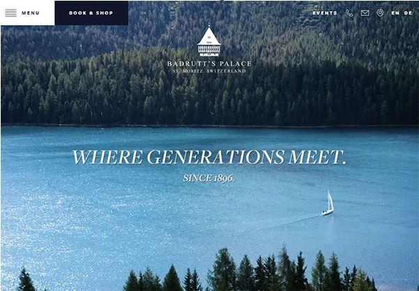 Badrutt's Palace – mẫu website resort tại Thụy Sĩ.
