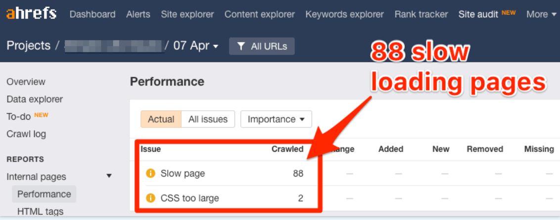 Dùng tool Ahrefs Site Audit để phân tích tốc độ website khi SEO Onpage