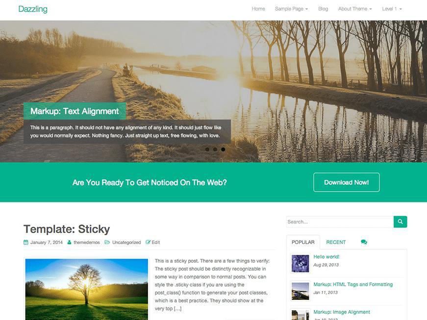 wordpress theme free dazzling
